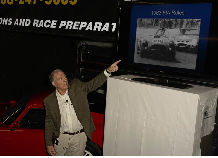 Celebrity guest Peter Brock giving video presentation of 'The Golden Years' of the Shelby/Ferrari FIA duels at Mustang Ranch in Santa Clara