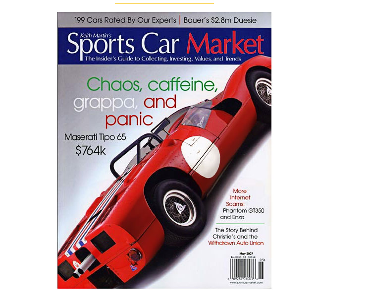 Keith Martin's 'Sports Car Market' magazine cover, May 2007, article about Shelby and SAAC lawsuit