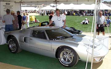 CAV GT40 at Laguna Seca, Shelby-Salute Cobra and Daytona Coupe and GT40 Show, 2003. Photo by Curt Scott