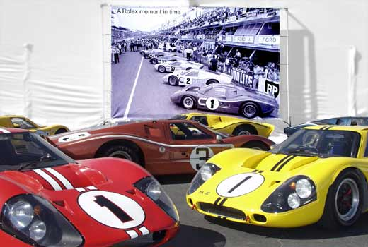 GT40 MkIVs at 'Salute to Shelby' Laguna Seca 2003. Photo by Curt Scott