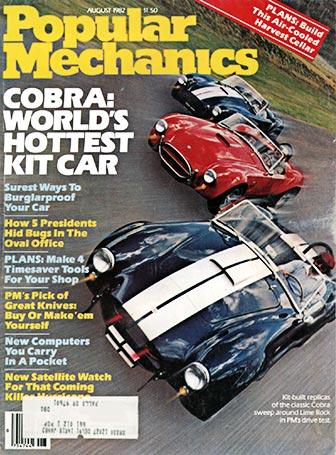 alternate cover shot of Popular Mechanics magazine, Aug. 1982, 3 Cobras on straightaway at Lime Rock