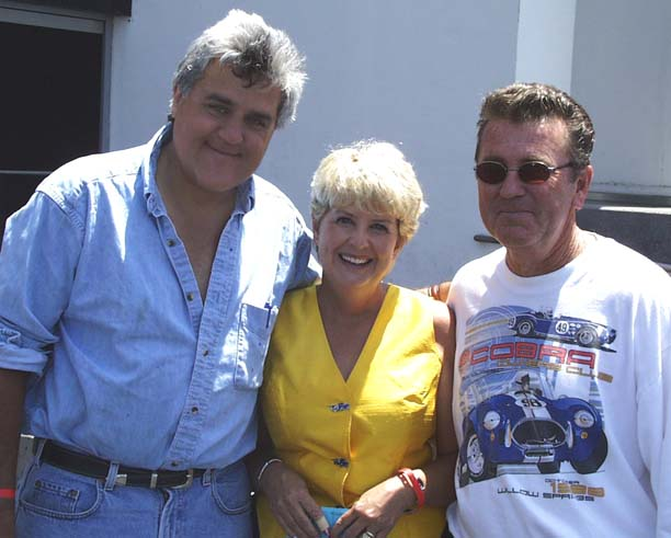 Shelby Cobra Day 2000 at Petersen Museum, photo of Jay Leno with John & Janet Marshall