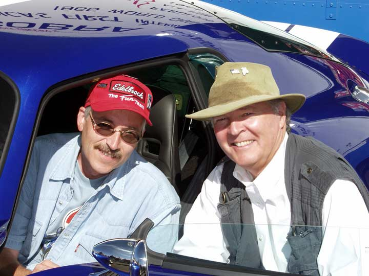 Hansjorg Angele (from Germany) and Peter Brock at Monterey Historic Races, Laguna Seca, California, 2003. Photo by Curt Scott