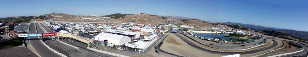 aerial/panoramic shot#2 of Laguna Seca race track, Shelby-Salute Cobra and Daytona Coupe and Shelby GT350s Show, 2003. Photo by Curt Scott