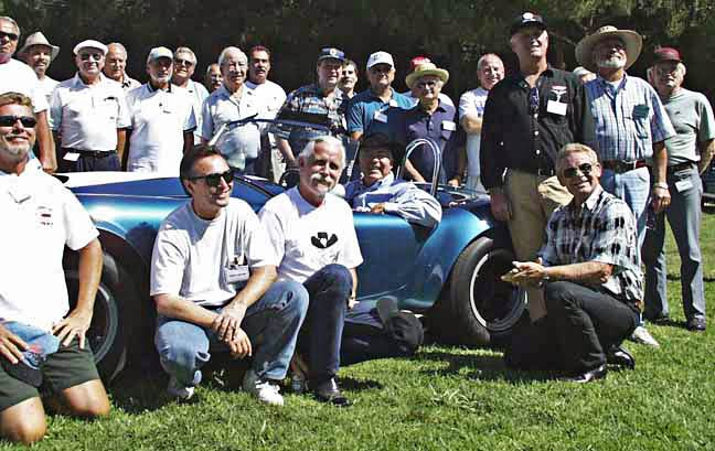 Lineup of vintage Shelby-American employees at LASAAC Woodley Park show, 1999