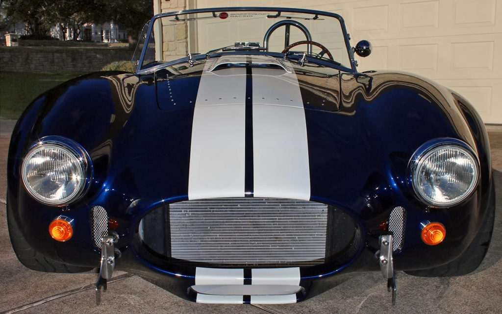 head-on frontal shot of Indigo Blue Backdraft Racing Shelby Cobra replica for sale, BDR1260