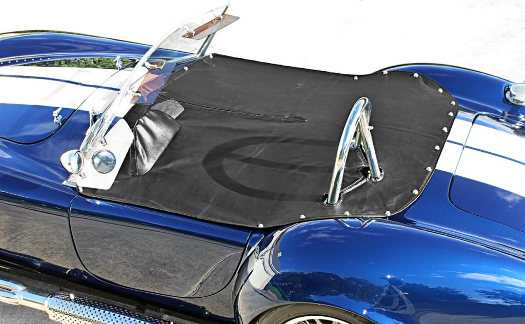 aerial shot of tonneau cover on Indigo Blue Backdraft Racing Shelby Cobra replica for sale, BDR1260