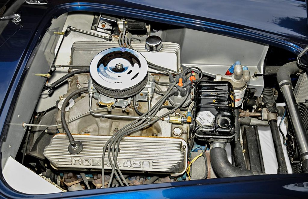 428 'Police Interceptor' engine shot of Shelby Navy Blue Contemporary Classic 427 'Street Version' Shelby Cobra for sale, CCX-3-3835