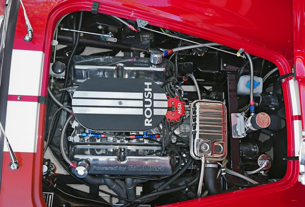 engine compartment shot (Roush 427R, from passenger side) of Monza Red Superformance 427SC Shelby classic Cobra for sale, SPO2051