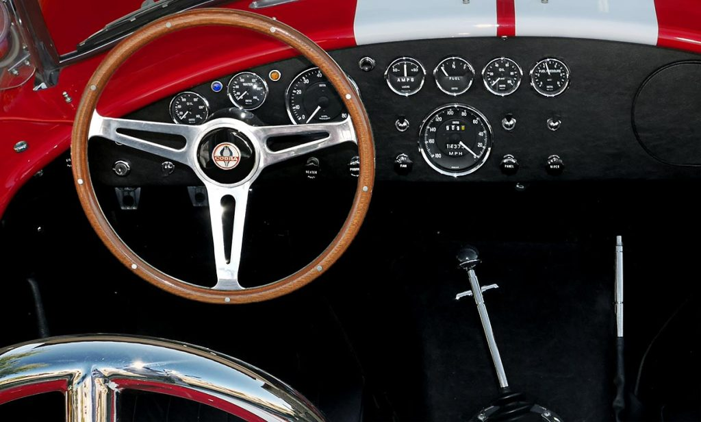 dashboard shot of Monza Red Superformance 427SC Shelby classic Cobra for sale, SPO2051