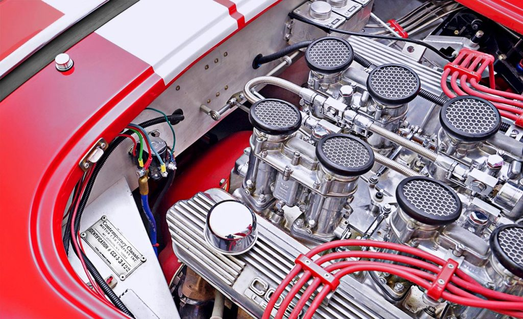 Weber carb ensemble atop the 427FE engine on Guards Red Contemporary Classic 427SC Shelby Cobra for sale, CCX-3-3422