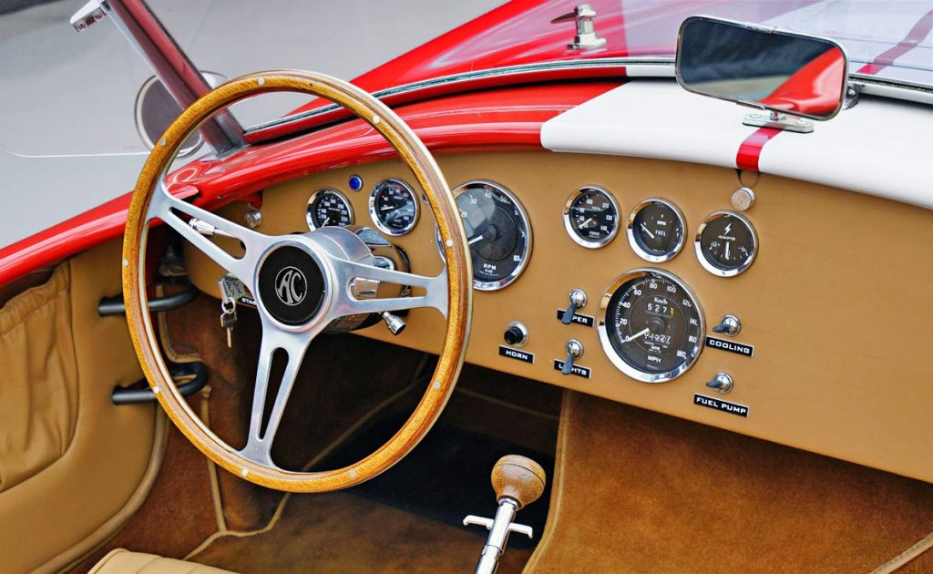 dashboard shot of Guards Red Contemporary Classic 427SC Shelby Cobra for sale, CCX-3-3422
