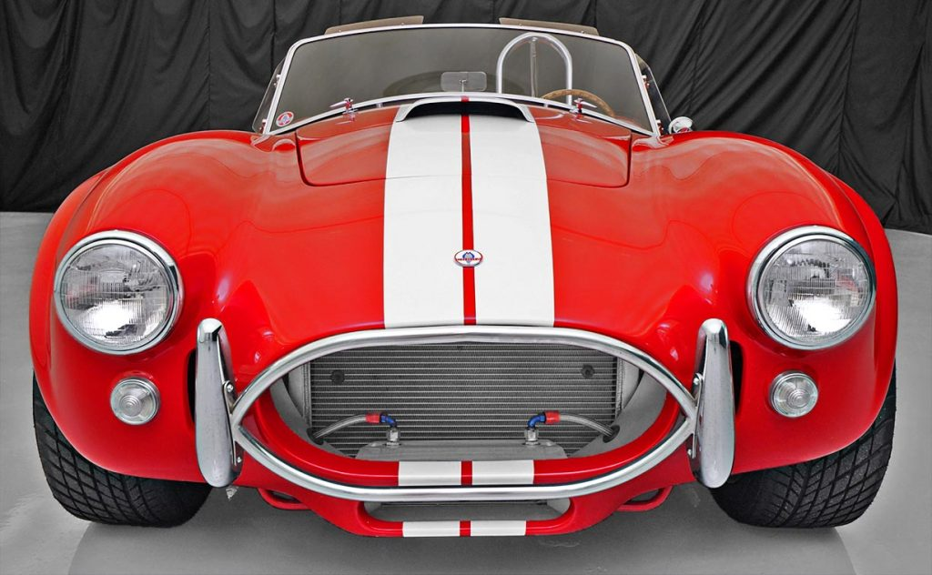 head-on frontal shot of Guards Red Contemporary Classic 427SC Shelby Cobra for sale, CCX-3-3422
