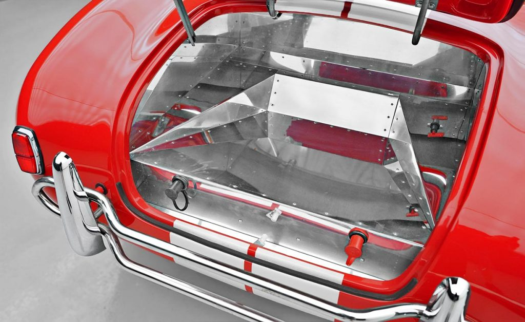 aluminum-lined luggage compartment shot of Guards Red Contemporary Classic 427SC Shelby Cobra for sale, CCX-3-3422