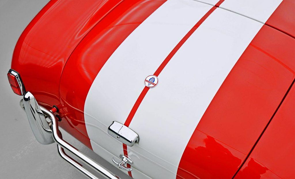 rear deck shot of Guards Red Contemporary Classic 427SC Shelby Cobra for sale, CCX-3-3422