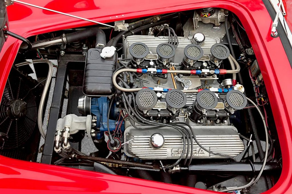 engine shot#1 (1964 427FE, with Weber stacks) of Hot Red Antique & Classic 427SC Shelby classic Cobra replica for sale
