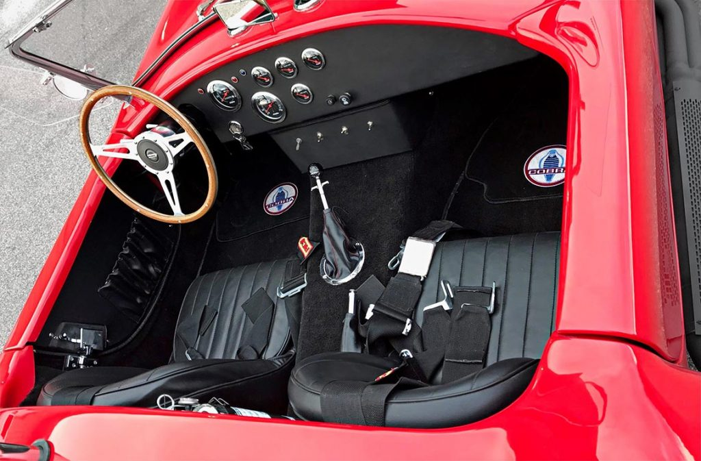 cockpit shot#2 (also from passenger side) of Hot Red Antique & Classic 427SC Shelby classic Cobra replica for sale