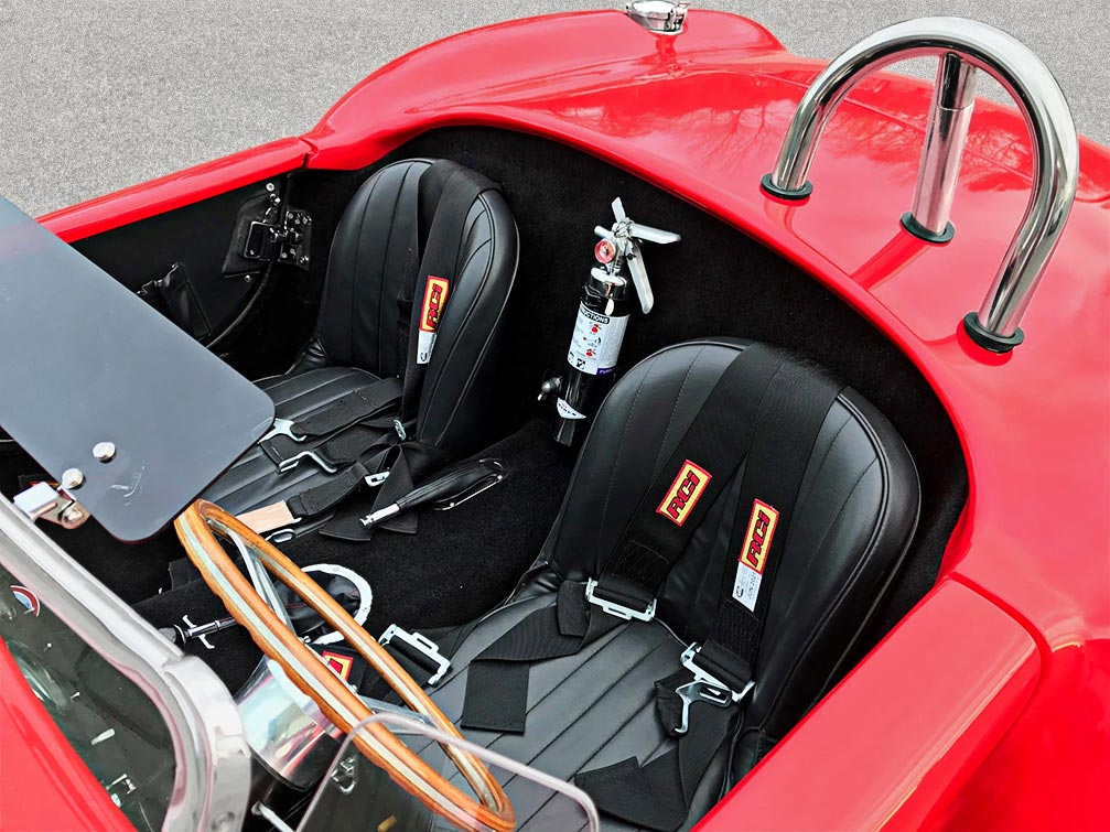 seating area shot (from driver side)) of Hot Red Antique & Classic 427SC Shelby classic Cobra replica for sale
