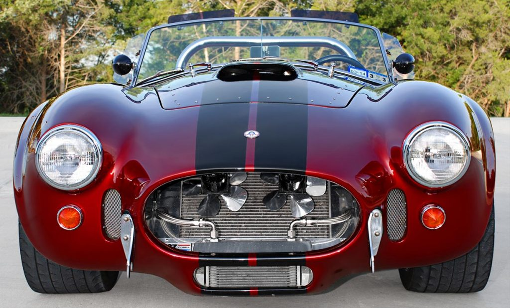 head-on frontal shot of Primal Red Pearl E.R.A. 427SC Shelby classic Cobra for sale, ERA462