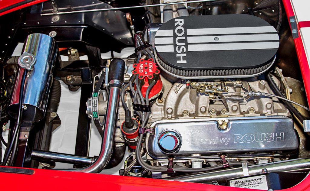 engine shot of Deep Red Backdraft Racing 427SC Shelby classic Cobra for sale, BDR661