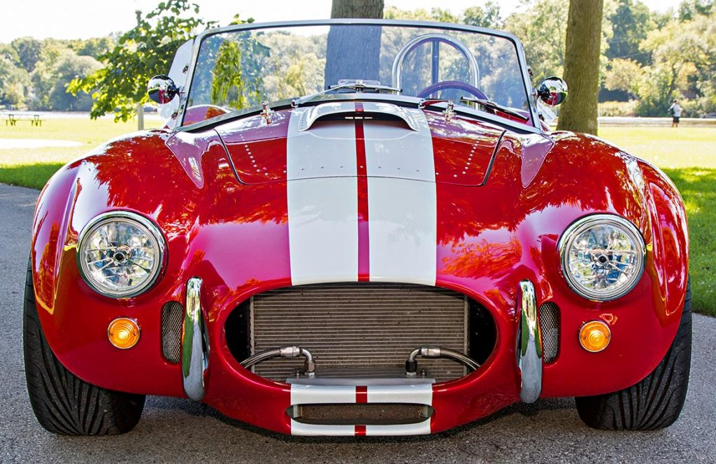 head-on frontal shot of Deep Red Backdraft Racing 427SC Shelby classic Cobra for sale, BDR661
