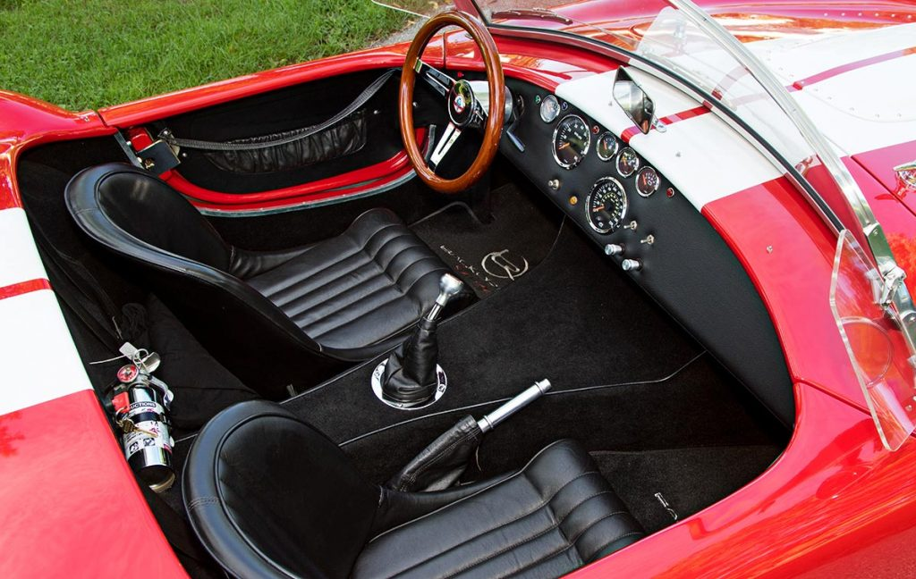cockpit shot#1 (from passenger side) of Deep Red Backdraft Racing 427SC Shelby classic Cobra for sale, BDR661