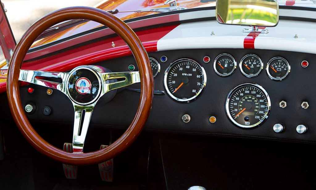 dashboard shot of Deep Red Backdraft Racing 427SC Shelby classic Cobra for sale, BDR661