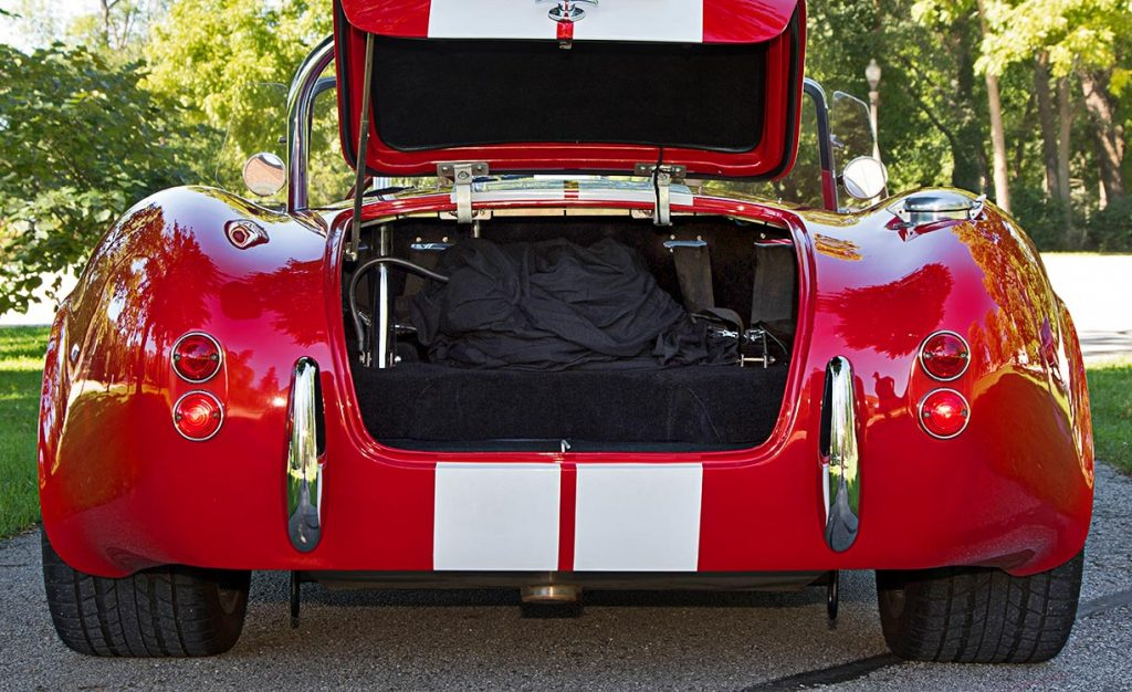 luggage compartment shot of Deep Red Backdraft Racing 427SC Shelby classic Cobra for sale, BDR661