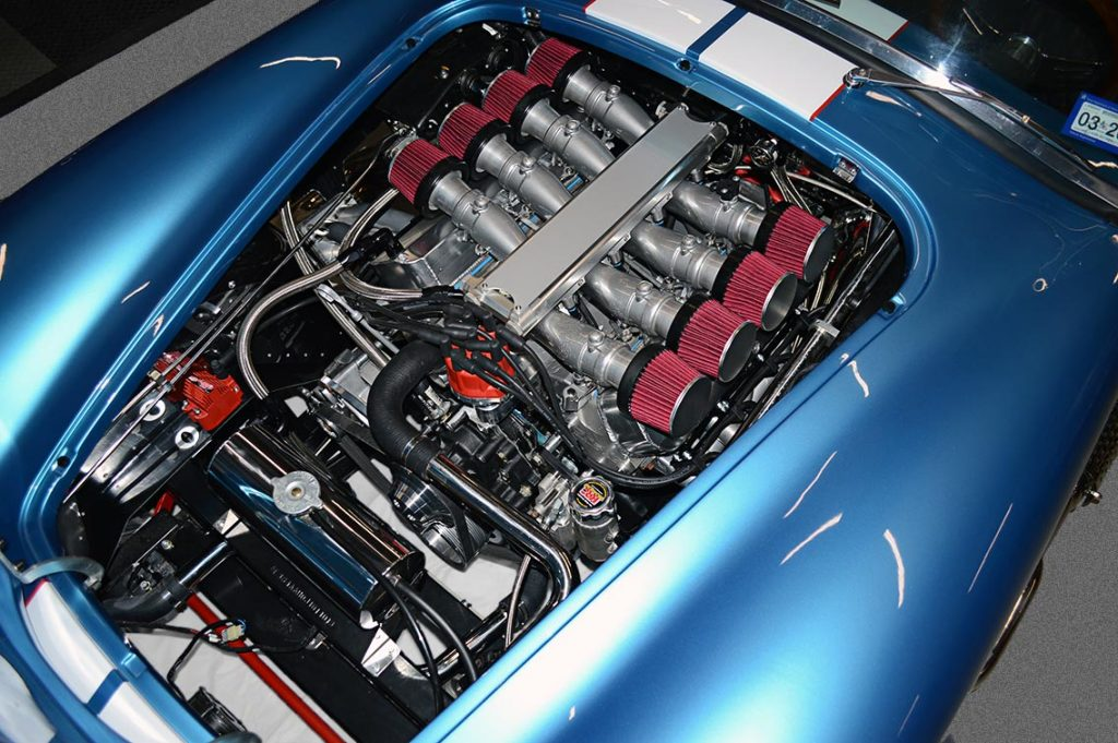 driver-side shot of 427 Windsor V8 with Speedmaster EFI of Electric Blue Backdraft Racing replica of Shelby classsic 427SC Cobra for sale, BDR1755