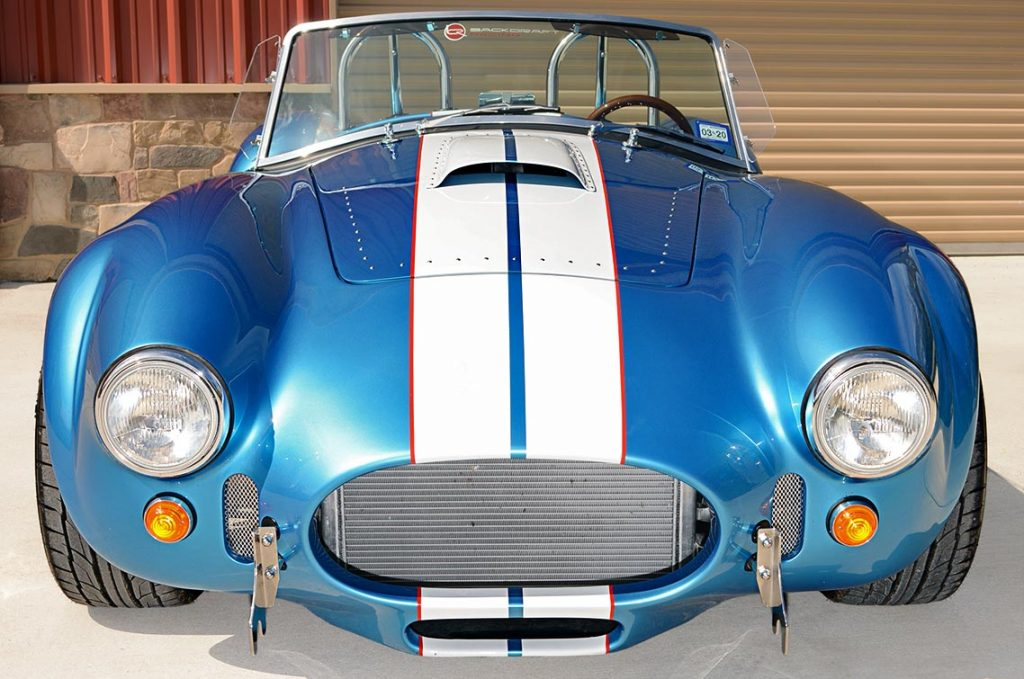 head-on frontal shot of Electric Blue Backdraft Racing replica of Shelby classsic 427SC Cobra for sale, BDR1755