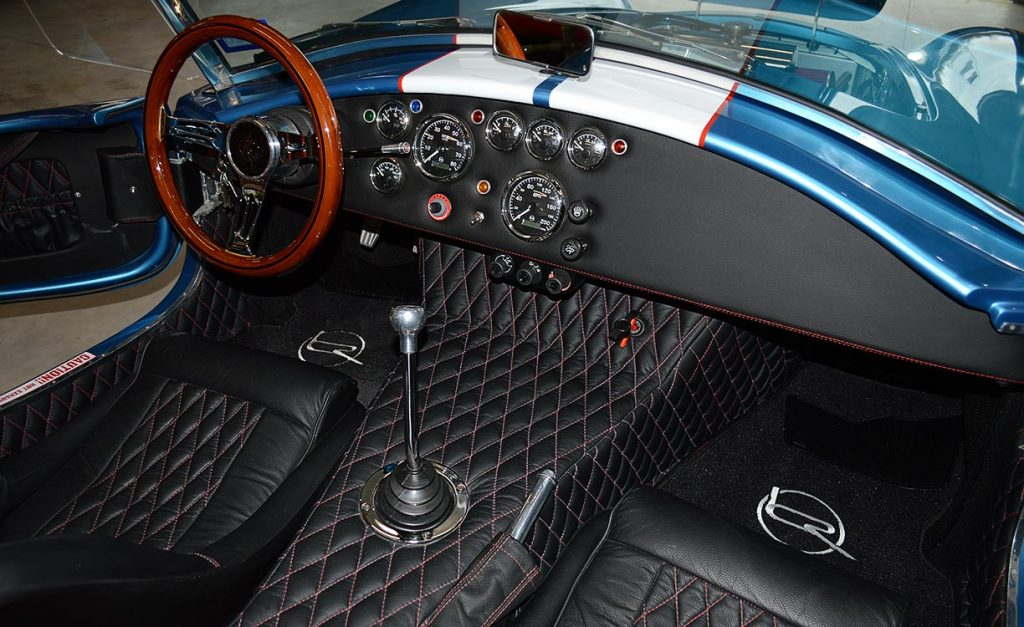 overhead cockpit shot (from driver side) of Electric Blue Backdraft Racing replica of Shelby classsic 427SC Cobra for sale, BDR1755