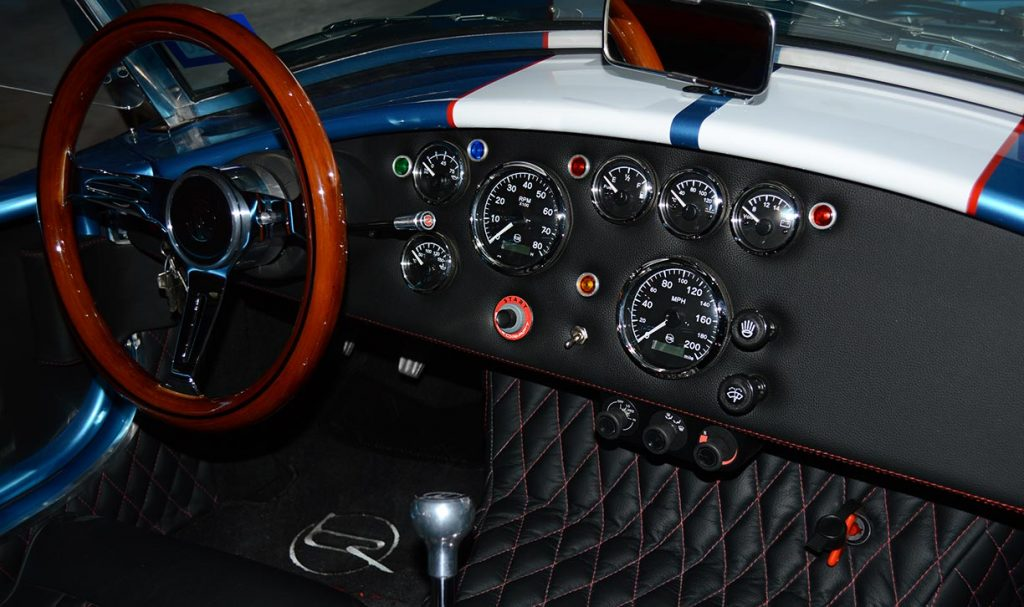 dashboard shot (from RHS camera position) of Electric Blue Backdraft Racing replica of Shelby classsic 427SC Cobra for sale, BDR1755