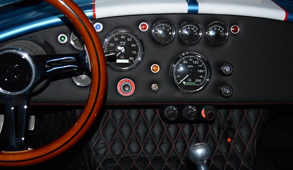 dashboard shot (from driver position) of Electric Blue Backdraft Racing replica of Shelby classsic 427SC Cobra for sale, BDR1755