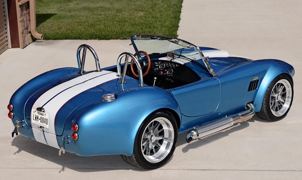 3/4-rear shot (passenger side) of Electric Blue Backdraft Racing replica of Shelby classsic 427SC Cobra for sale, BDR1755