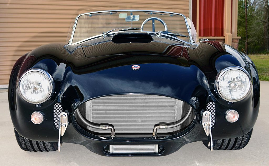 head-on frontal shot of Onyx Black Superformance 427 Shelby classic Cobra street version Roadster for sale, SPO1869