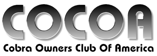 Cobra Owners Club of America masthead for COCOA feature-coverage articles