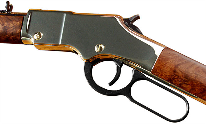 closeup photo#1 of receiver and lever of Henry rimfire .44 carbine once owned by Carroll Shelby