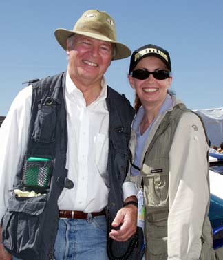 Peter & Gayle Brock at Monterey Historic Races, Laguna Seca, California, 2003. Photo by Curt Scott