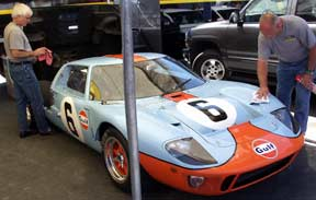 Gulf Blue GT40 MK1, Nr.6 car, Shelby-Salute Cobra and Daytona Coupe and Shelby GT350s Show, 2003. Photo by Curt Scott