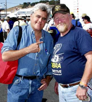 Monterey Historic Races, Laguna Seca, California, 2003. Photo of Jay Leno and Rick Kopec (of SAAC infamy)