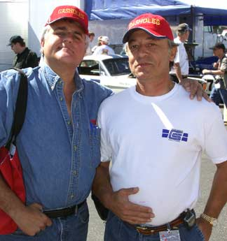 Monterey Historic Races, Laguna Seca, California, 2003. Photo of Jay Leno and Turk Ercen (of Gasholes infamy)