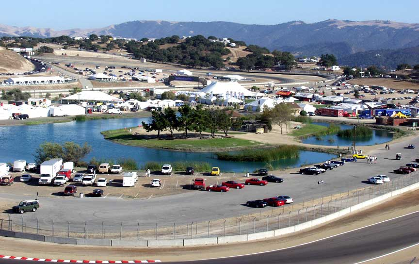 Laguna Seca infield lake, island and causeway, Shelby-Salute Cobra and Daytona Coupe and Shelby GT350s Show, 2003. Photo by Curt Scott