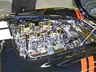 Steve Jacques' 427SC E.R.A. Cobra, photo of engine compartment with Weber carbs