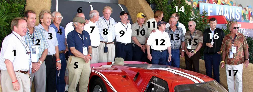 Lineup (large view) of 'Legend Era' celebrities, luminaries and famous race car drivers. Laguna Seca, Shelby-Salute, GT40 Show, 2003. Photo by Curt Scott