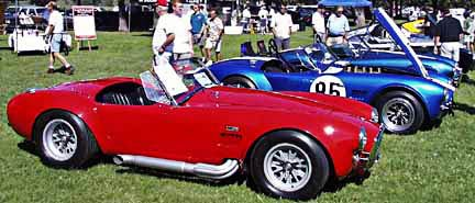 lineup of original 427 Cobras at LASAAC Woodley Park 7th Annual Shelby Cobra event
