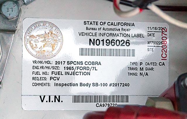 Shelby Cobra VIN label CSX4229