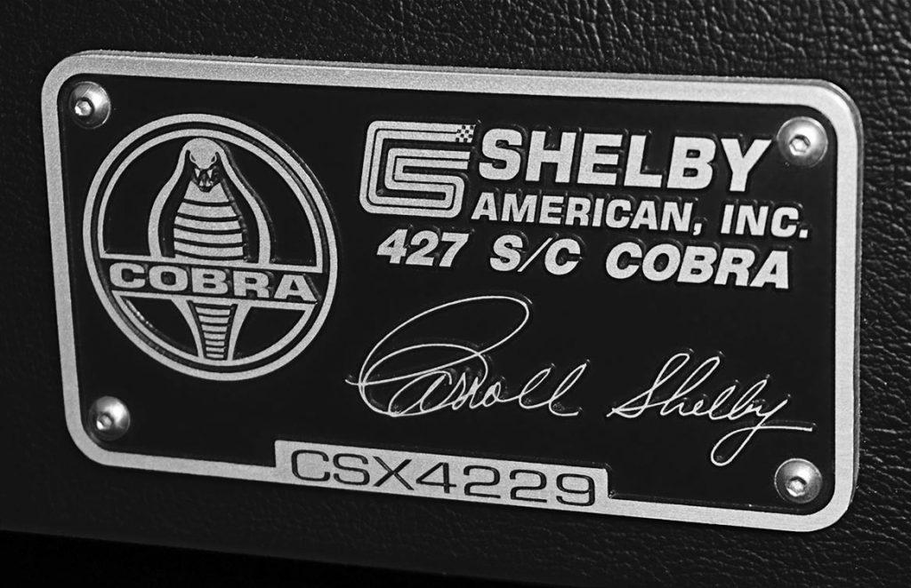 Shelby Cobra Shelby signed plaque CSX4229