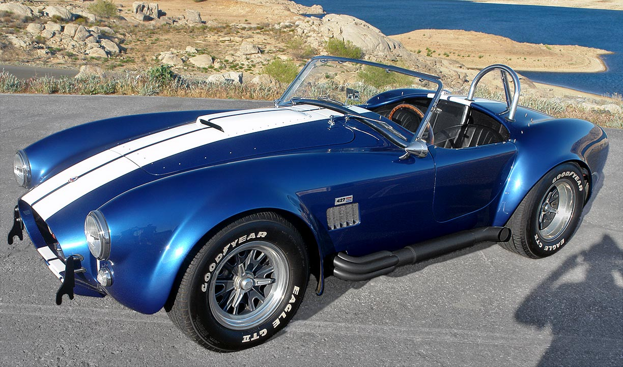 3/4-frontal view#1 (driver side) of Guardsman Blue Superformance 427SC Shelby classic Cobra for sale, SPO#0813