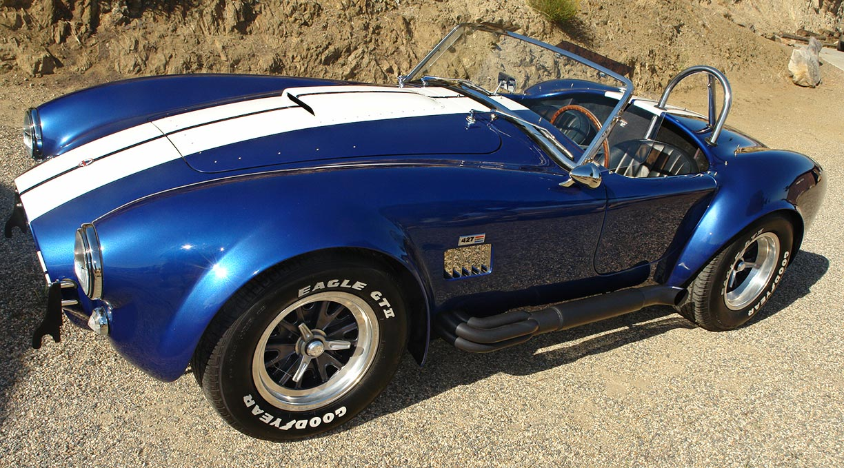 3/4-frontal view#2 (driver side) of Guardsman Blue Superformance 427SC Shelby classic Cobra for sale, SPO#0813