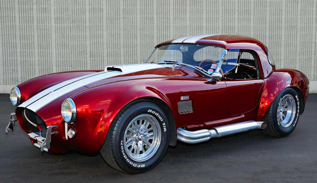 3/4-frontal photo of Sunset Red Superformance 427SC Cobra for sale, SPO2198